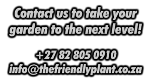 Contact us to take your garden to the next level! info@thefriendlyplant.co.za +27 82 805 0910