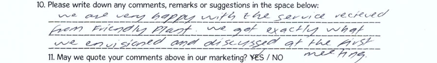 Testimonial and comments for quality of landscaper service